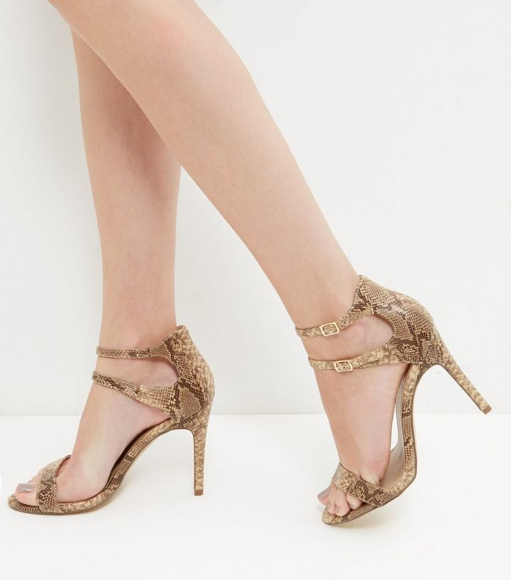 7fdd75b0d36 Brown Snakeskin Print Double Ankle Strap Heels Add to Saved Items Remove  from Saved Items