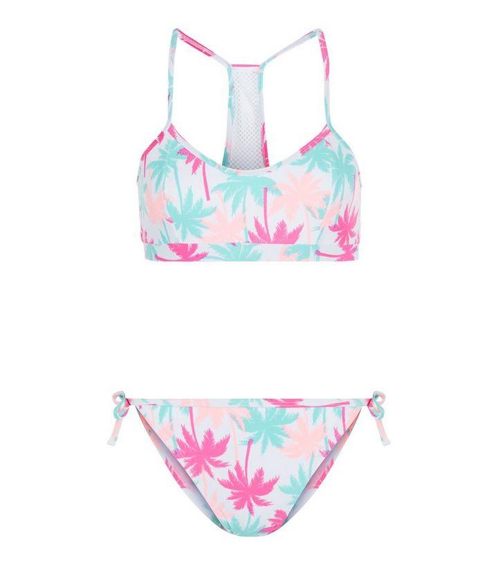 0d34b68d101a2 Teens Pink Palm Tree Print Mesh Panel Bikini Set | New Look
