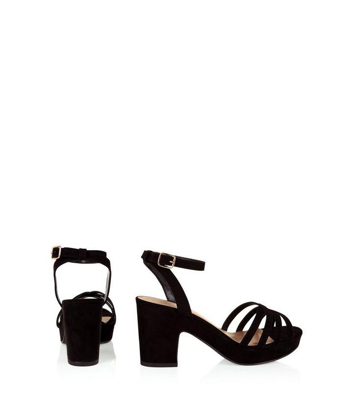 59bd050cca ... Wide Fit Black Suedette Platform Block Heels. ×. ×. ×. VIDEO Shop the  look