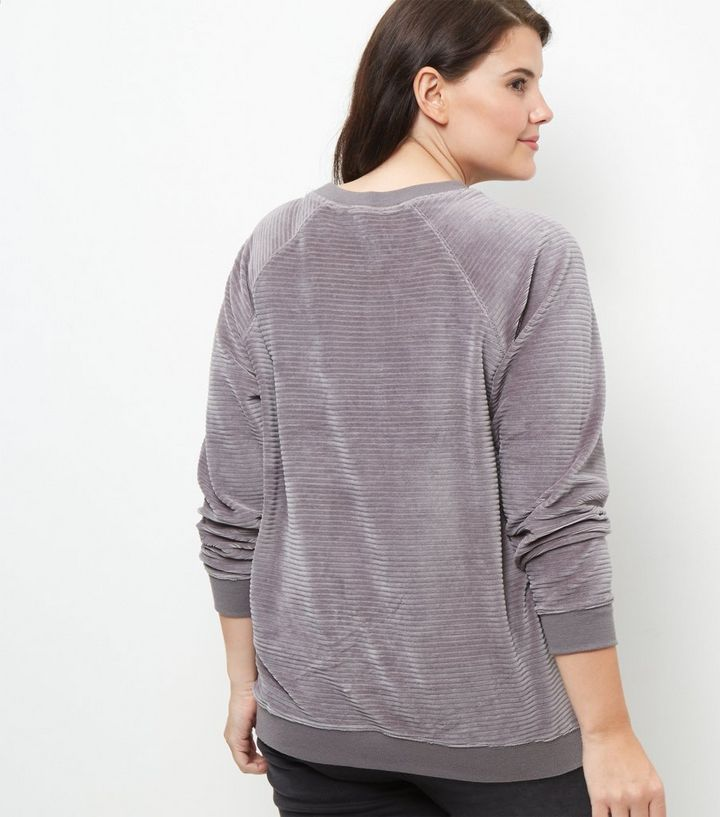 80887672cb9f1 Curves Dark Grey Ribbed Velour Sweater
