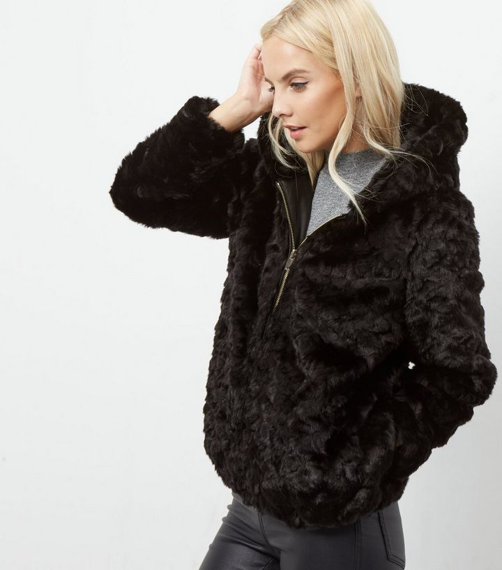 2b357d629 Petite Black Faux Fur Hooded Bomber Jacket Add to Saved Items Remove from  Saved Items