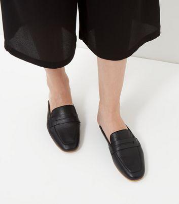 Black Premium Leather Loafer Mules