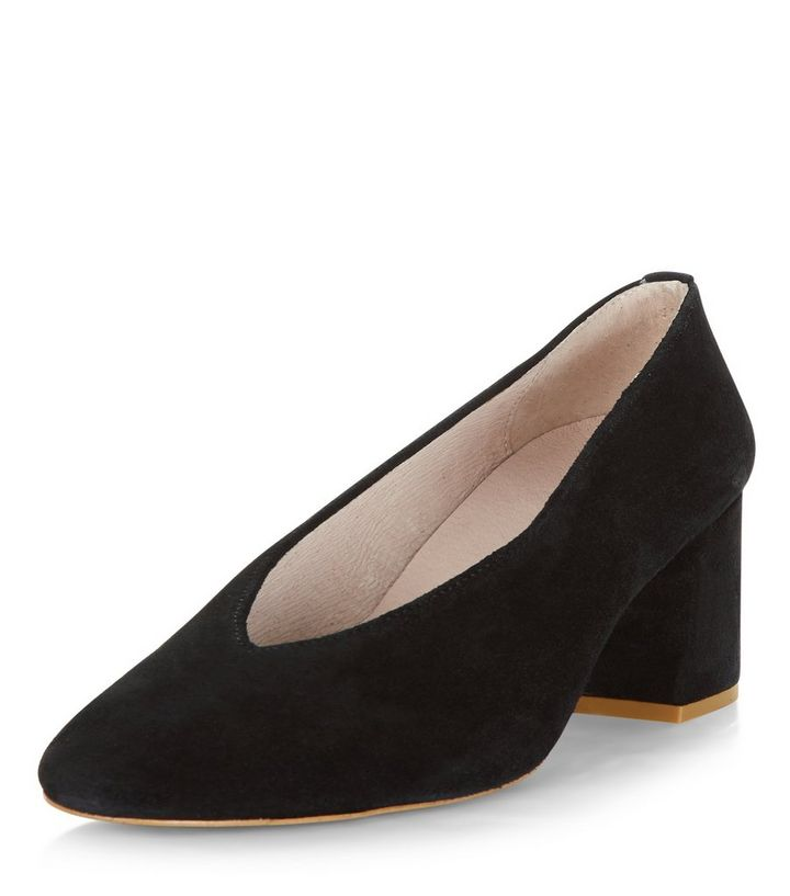 d906b0cc9751 Black Premium Leather Flared Court Shoes
