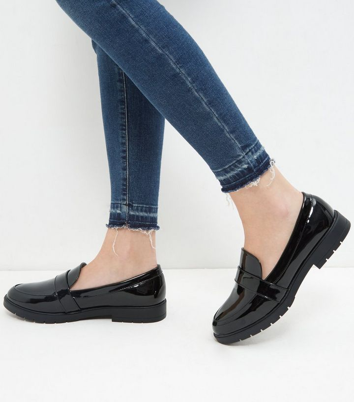 reliable reputation 2019 authentic 100% authenticated Wide Fit Black Patent Chunky Loafers Add to Saved Items Remove from Saved  Items