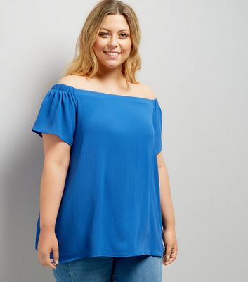 Curves Blue Bardot Neck T-Shirt New Look