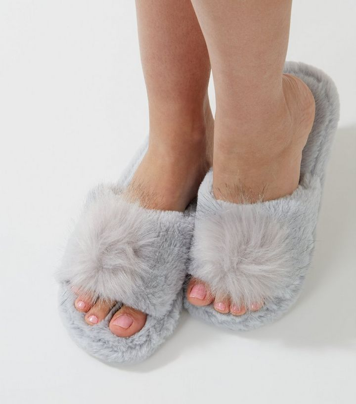 99cfe58a978f4 Grey Faux Fur Pom Pom Slider Slippers Add to Saved Items Remove from Saved  Items