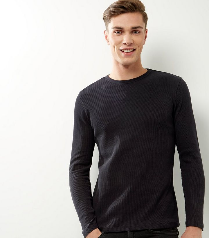 57d2c49d1 Black Ribbed Crew Neck Long Sleeve T-shirt Add to Saved Items Remove from  Saved Items