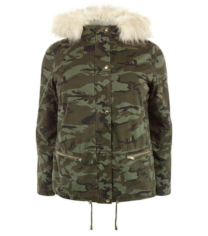 196a5cb283a0 Curves Camo Print Faux Fur Hooded Jacket