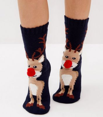 Navy Christmas Reindeer Pom Pom Nose Socks New Look