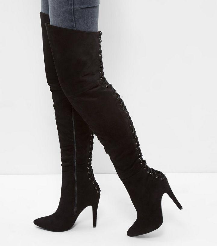 Cuissardes noires en daim avec lacets à l arrière   New Look 1ae4ae68050d