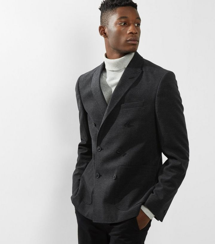 841c3034fa37 Grey Double Breasted Blazer   New Look