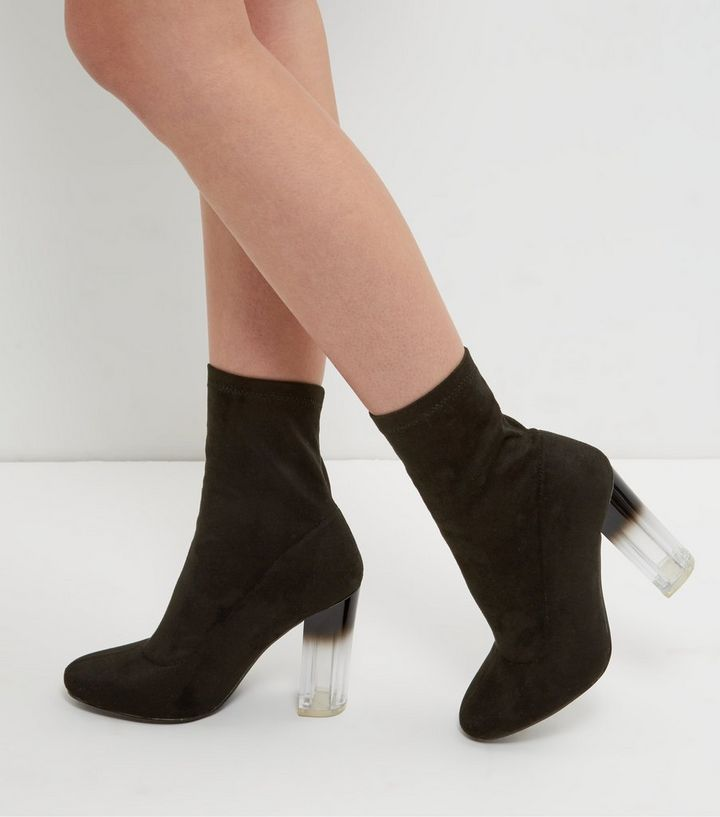 Wide Fit Black Suedette Clear Heel Sock Boots   New Look 2916bdb67fc8