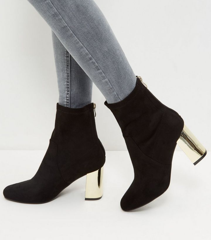 93043e118b5 Wide Fit Black Suedette Metal Heel Ankle Boots Add to Saved Items Remove  from Saved Items
