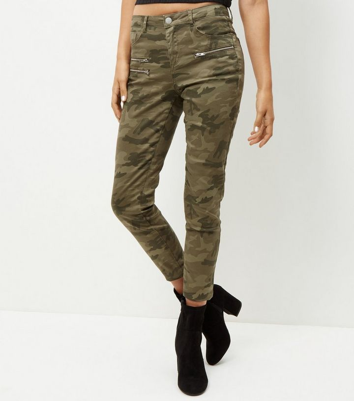 attractive fashion the sale of shoes world-wide selection of Khaki Camo Print Zip Pocket Trousers Add to Saved Items Remove from Saved  Items
