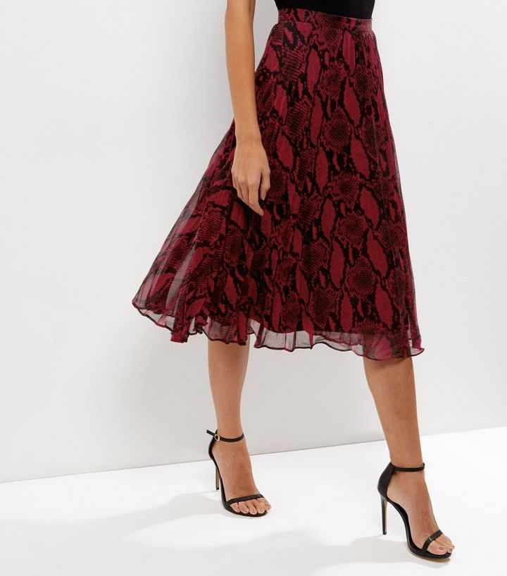 2157e71550aa Red Snakeskin Print Layered Pleated Midi Skirt | New Look