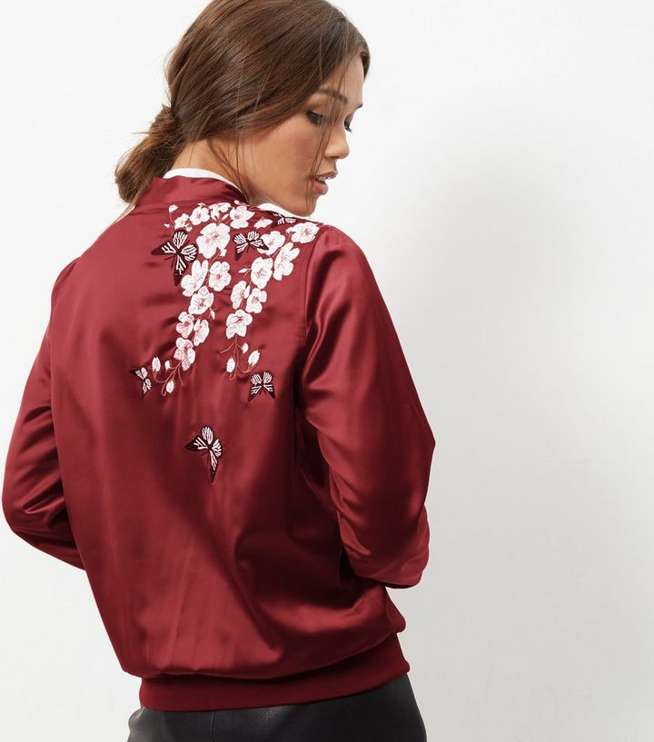 7fb469e94 Blue Vanilla Dark Red Embroidered Bomber Jacket Add to Saved Items Remove  from Saved Items