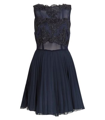 AX Paris Navy Lace Crochet Skater Dress New Look