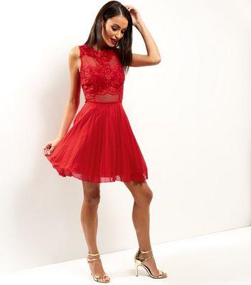 AX Paris Red Crochet Lace Skater Dress New Look