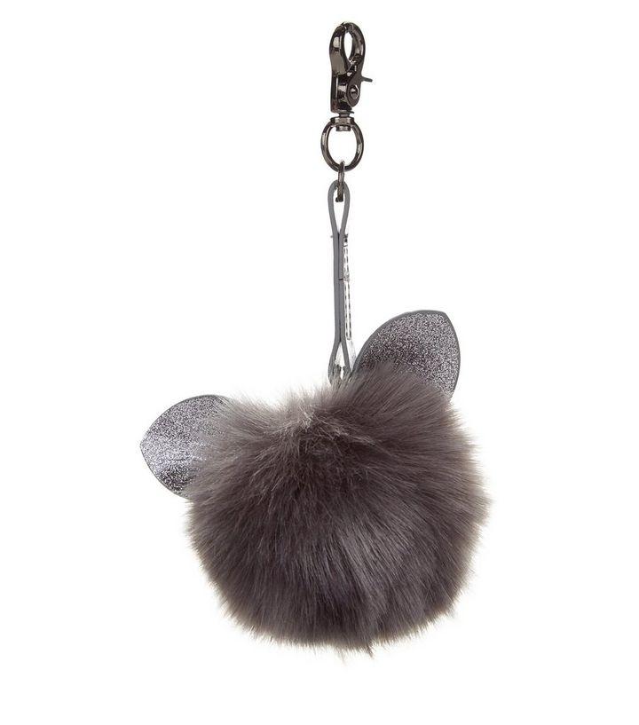 Grey Glitter Cat Faux Fur Pom Pom Keyring  e91bdf567