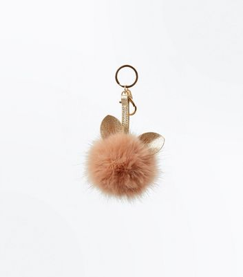 Shell Pink Faux Fur Cat Pom Pom Keyring New Look