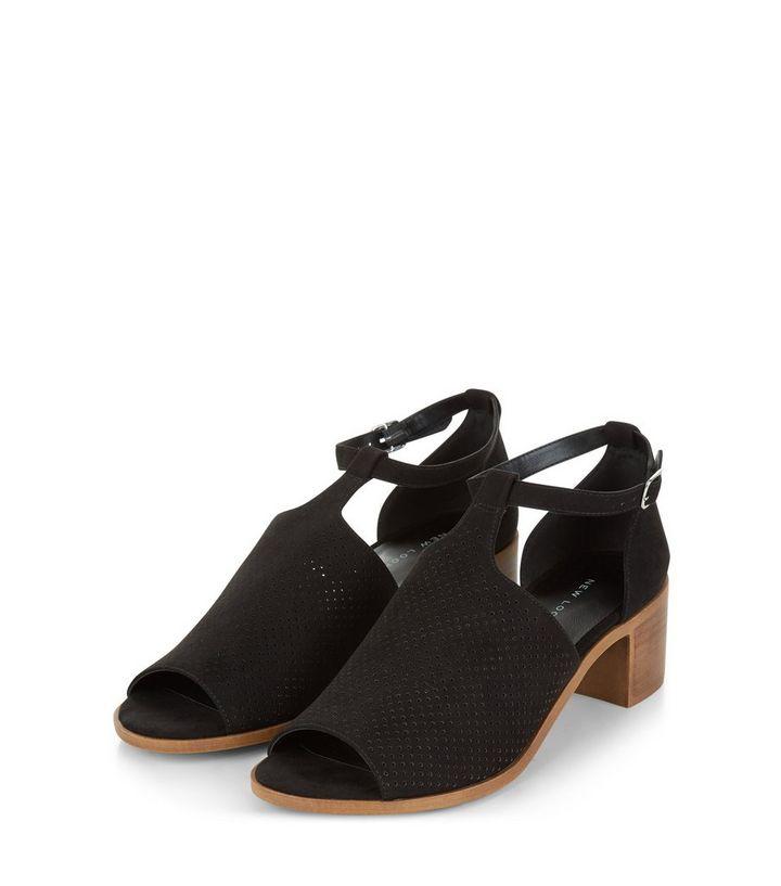 8eead98d6c12 ... Black Suedette Laser Cut Out Peep Toe Sandals. ×. ×. ×. VIDEO Shop the  look