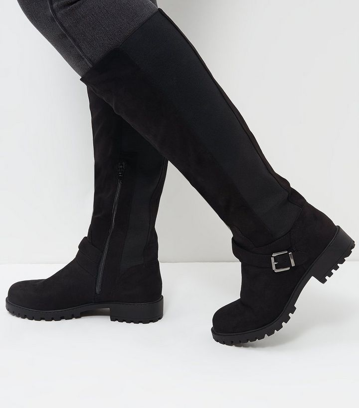 top-rated official best loved detailed pictures Wide Fit Black Suedette Extra Calf Fit Knee High Boots Add to Saved Items  Remove from Saved Items