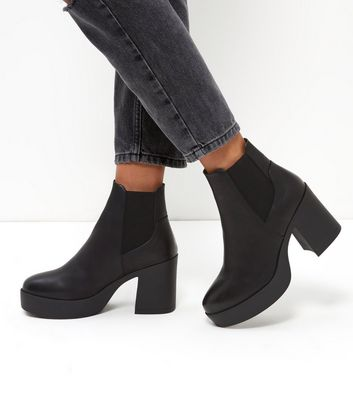 Platform Flared Heel Chelsea Boots