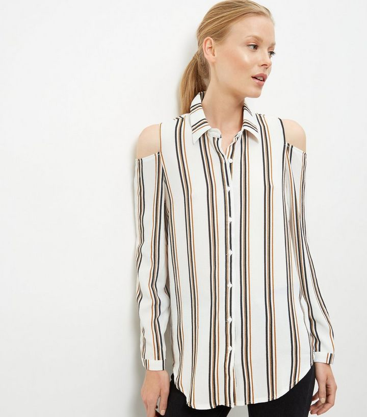 c54495008f6f1 White Stripe Cold Shoulder Long Sleeve Shirt