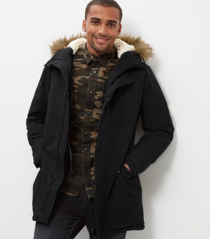 how to buy new lifestyle fashion styles Black Faux Fur Trim Hooded Parka | New Look
