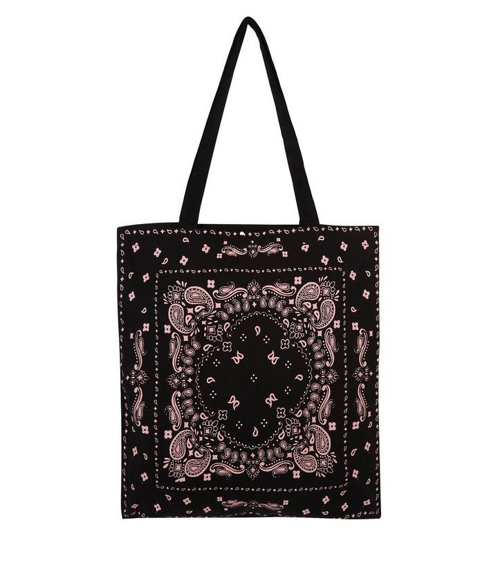 141f74441a0 Black Paisley Print Canvas Bag Add to Saved Items Remove from Saved Items
