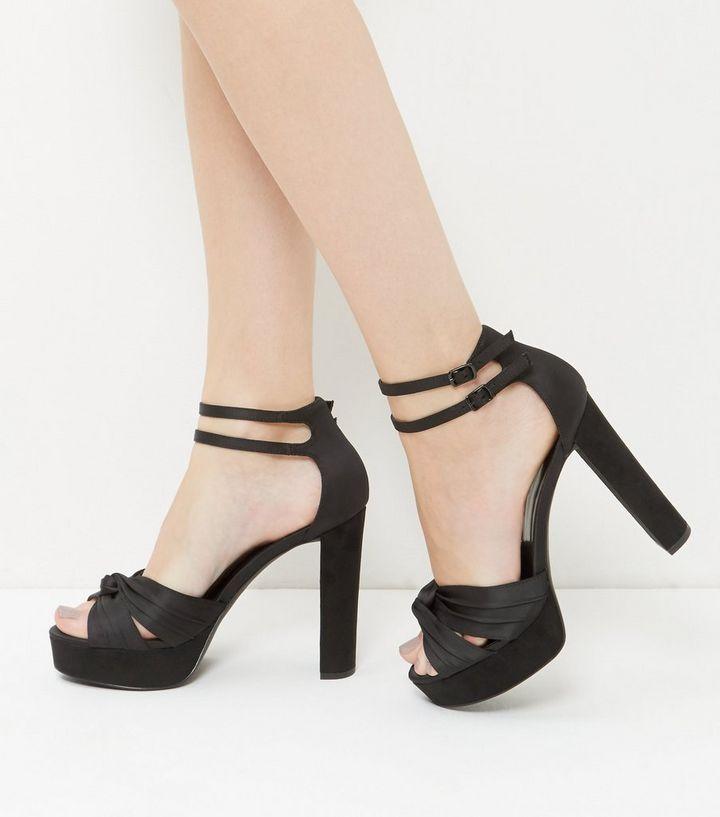 4a4d551ad2c5 Black Satin Knot Platform Heels