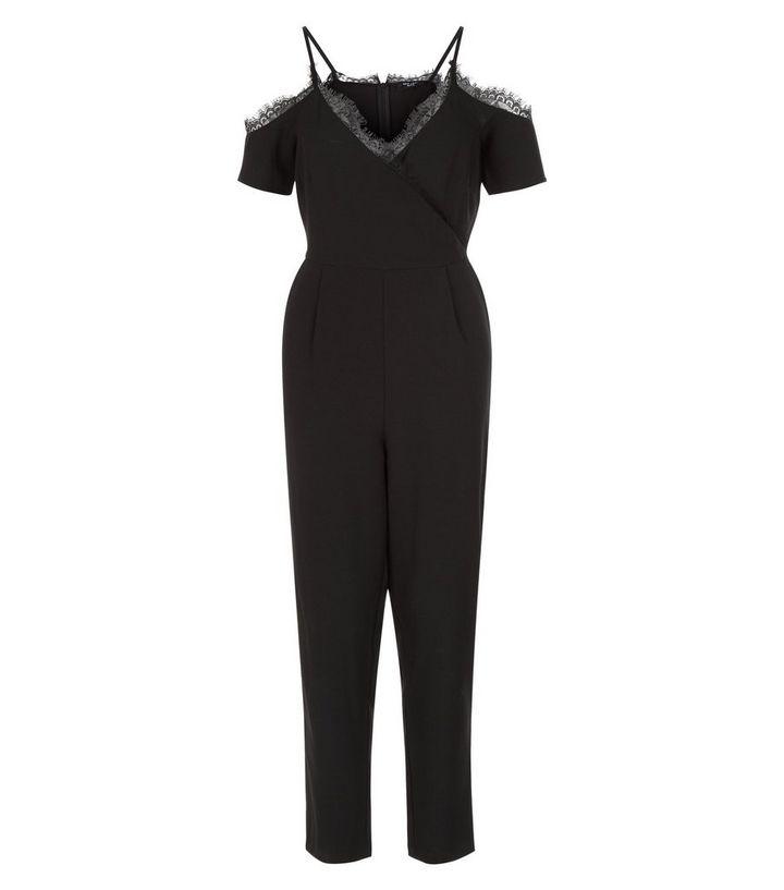 37d09a7c29 Petite Black Lace Trim Cold Shoulder Jumpsuit