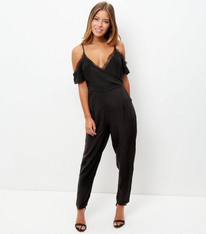 83150575d9 ... Womens Clothing · Dresses · Petite Black Lace Trim Cold Shoulder  Jumpsuit. ×. ×. ×. Shop the look