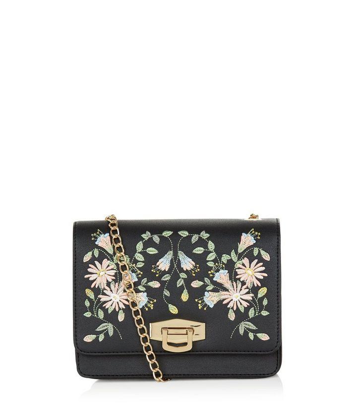 2701b424e7 Black Embroidered Floral Print Chain Shoulder Bag