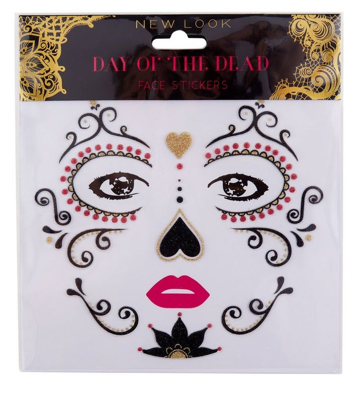 Black Day Of The Dead Temporary Facial Tattoos New Look