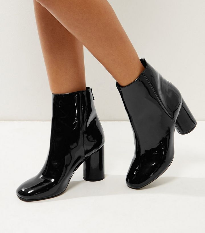 8671a3ab567 Wide Fit Black Patent Cylindrical Heel Ankle Boots Add to Saved Items  Remove from Saved Items