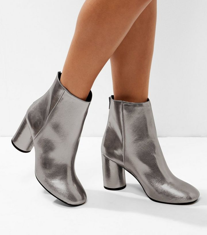 201ec64bbf0 Wide Fit Pewter Metallic Cylindrical Heel Ankle Boots