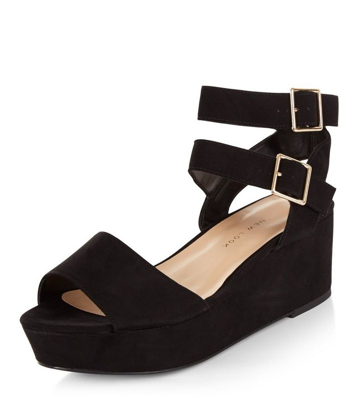 aab3386b2ba Teens Black Ankle Strap Platform Wedges