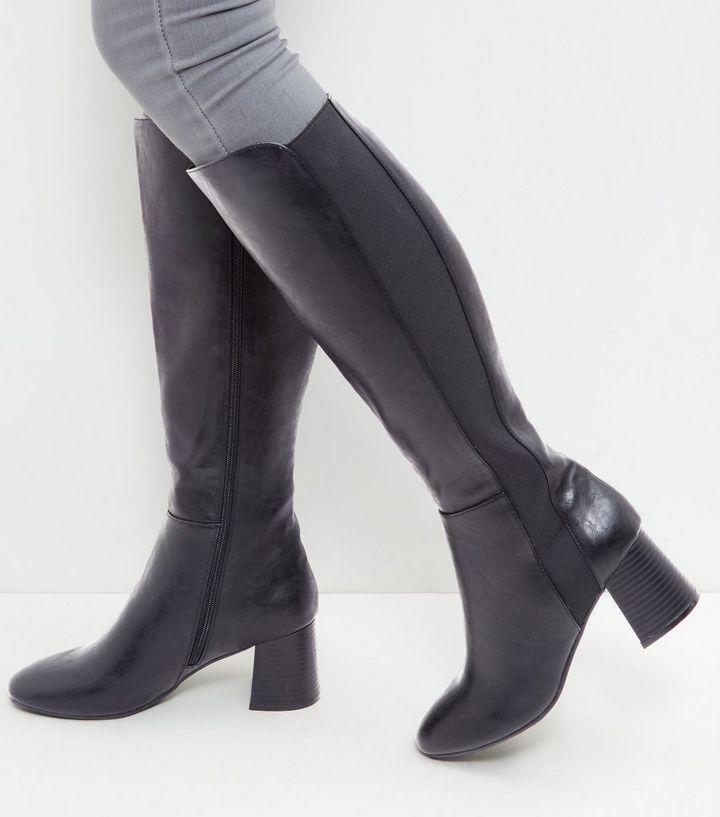 edd0e680d00b Black Leather-Look Block Heel Knee High Boots