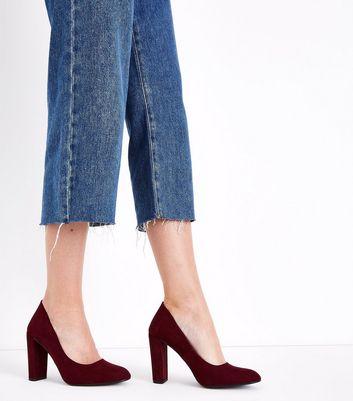 Wide Fit Burgundy Suedette Block Heel Courts New Look