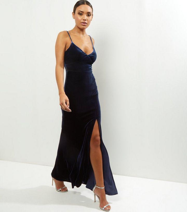 611bd74e4c8 Navy Velvet Strappy Split Side Maxi Dress