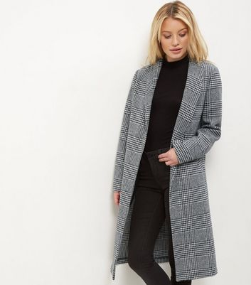 Grey Check Longline Coat Add to Saved Items Remove from Saved Items