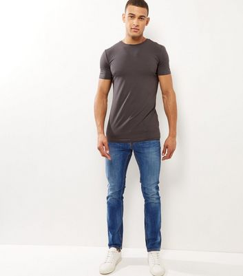 Blue Washed Slim Leg Jeans New Look