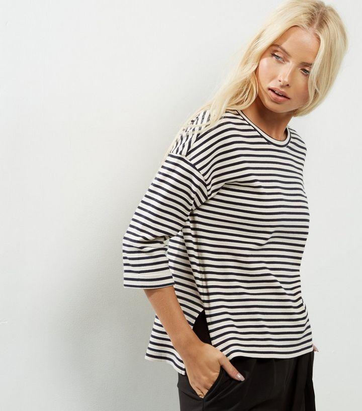 ac398fe8526 Black Stripe Print 3 4 Sleeve Top