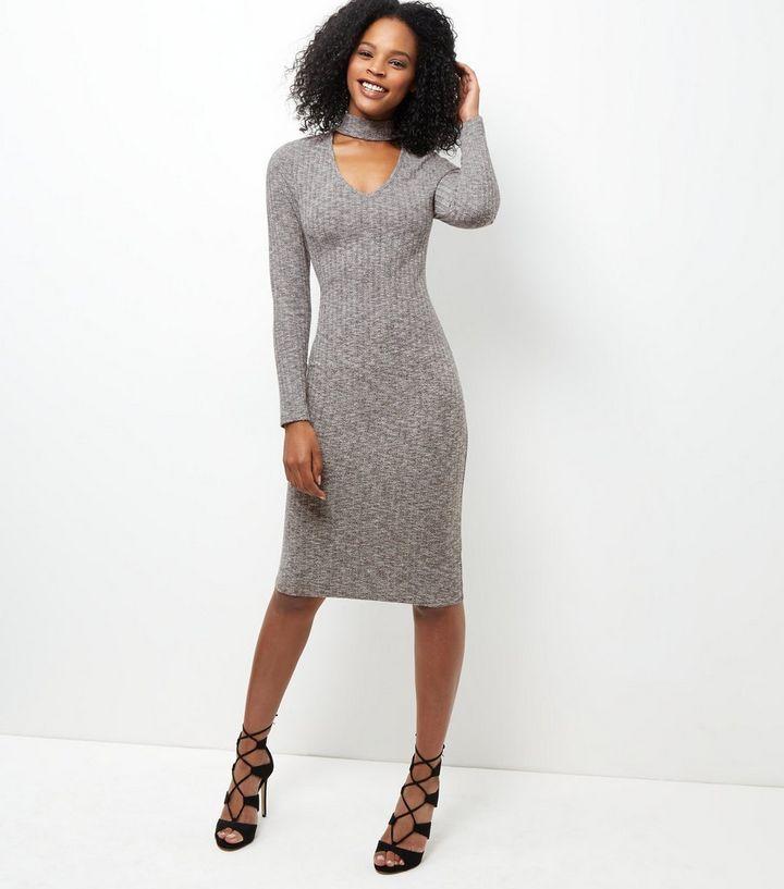 d8ea83a78bb8 Grey Ribbed Choker Long Sleeve Midi Dress