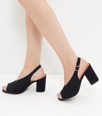 V Throat Peep Toe Slingback Block Heels