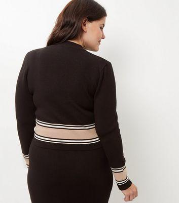 Curves Black Stripe Trim Long Sleeve Top New Look