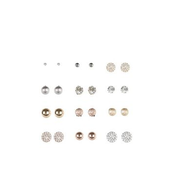 12 Pack Gold Stud Earrings New Look