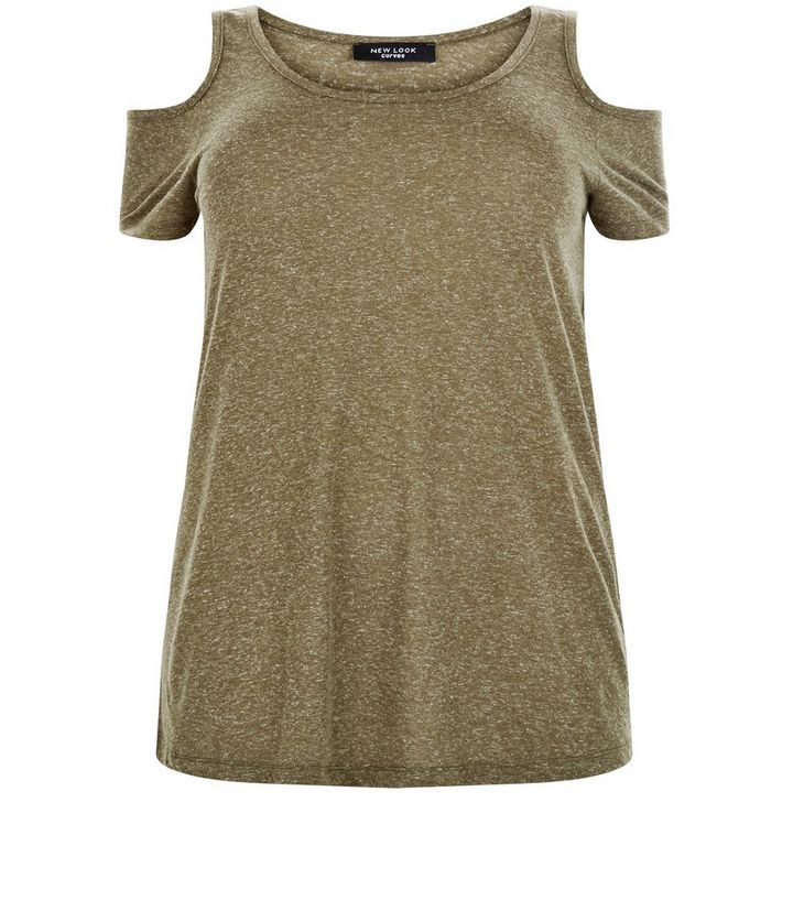 781b62df09cf6 Curves Khaki Cold Shoulder Top