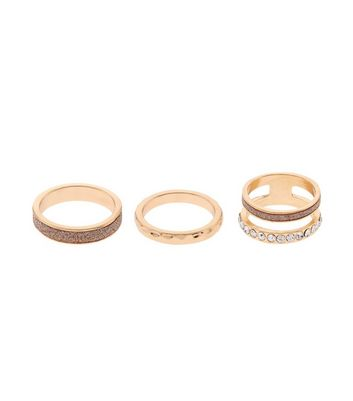 4 Pack Rose Gold Rings New Look